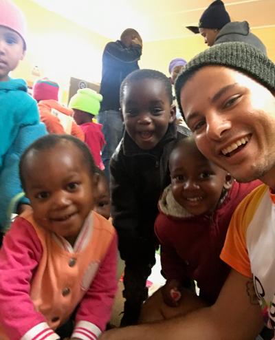Mr Gay World 2018 Jordan Bruno visiting an orphanage in Knysna (Supplied)
