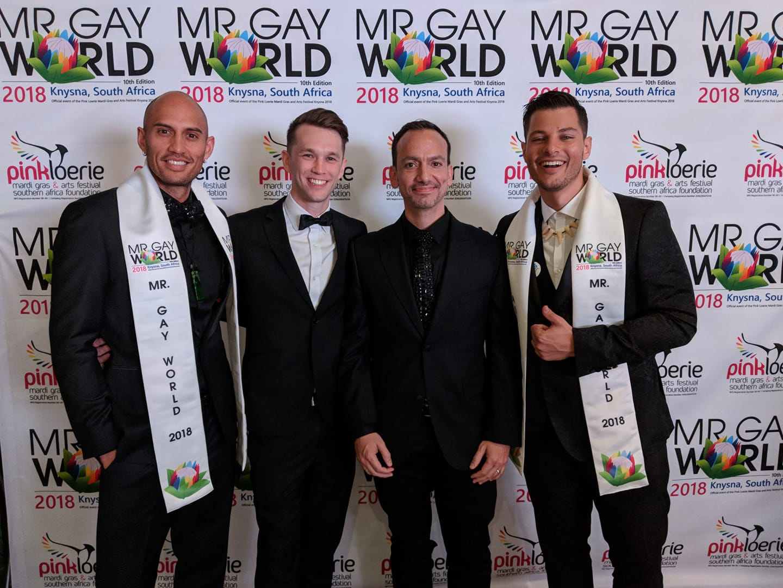 Mr Gay World 2018 Runner-up Ricky Devine-White with Mr Gay Pride Australia 2017 David Francis, President of Mr Gay World Eric Butter and Mr Gay World 2018 Jordan Bruno - (Facebook)