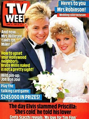 TV Week cover of Scott and Charlene's wedding on 27 June 1987. (Source: TV Week, 27 June 1987)