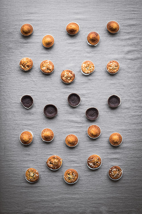 Muffins, top to bottom: Muffins, Basic Recipe; Apple and Cinnamon Muffins with Crumble; Swedish Gooey Chocolate Cake Muffins; Coconut Muffins; Oat Muffins. Photography by Magnus Nilsson (page 369) The Nordic Baking Book