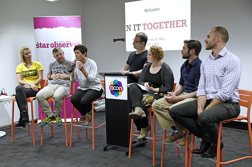 Rad Mitic speaking at the IN IT TOGETHER suicide forum alongside speakers from Beyond Blue, VAC, Acon, R U OK? and Headspace.