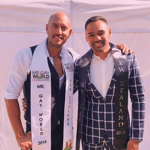 Ricky Devine-White, Mr Gay New Zealand 2018 and Nick Francis Mr Gay New Zealand 2019