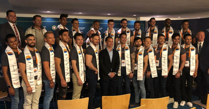 Mr Gay World 2019 delegates with local politicians and President of Mr Gay World Eric Butter and the opening media conference in Cape Town.