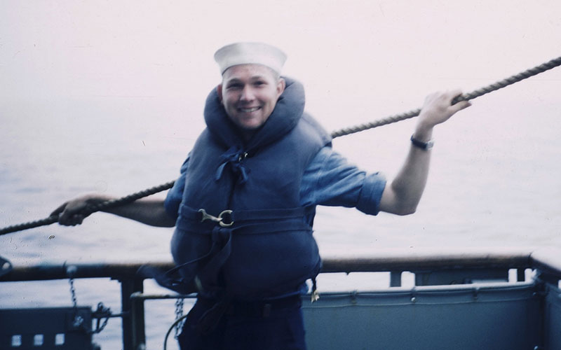 Kenneth Felts on a guided tour to Korea in 1951 (Courtesy US Navy via Facebook)