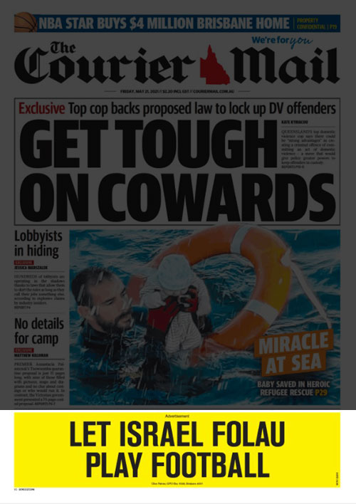 Front Page of Friday's The Courier Mail