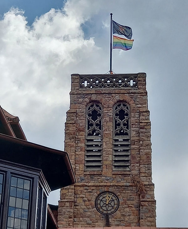 Rainbow flag flies above the St Johns College bell tower (Facebook)