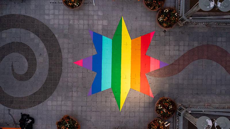 Turku Theatre Bridge rainbow star - (Photo: Facebook)